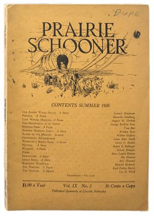 Prairie Schooner Vol. IX No. 3. Weldon Kees, August Derleth